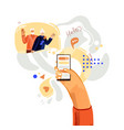 hand with phone concept about vector image vector image