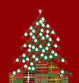 Holiday background with Christmas tree and gift vector image