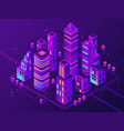 isometric neon town futuristic illuminated city vector image