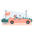just married couple in a pink cabriolet car vector image