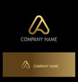 letter a triangle line gold logo vector image