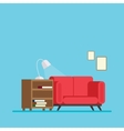 living room with sofa bed and a bedside table book vector image vector image