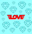 Love logotype with wings Background with diamond vector image vector image