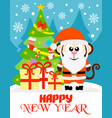 monkey happy new year card vector image vector image