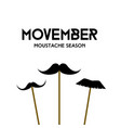 movember mustache season mustache mask on stick vector image vector image