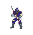Ninja Masked Warrior Spear Cartoon vector image vector image