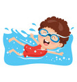 of a kid swimming vector image