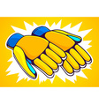 orange and blue gloves on yellow backgrou vector image