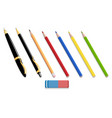 pens and pencils isolated 3d icons vector image