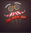 santas mustache and glasses vector image