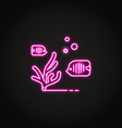 sea coral and fish icon in glowing neon style vector image