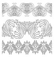 seamless black and white vintage border vector image vector image