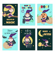 Set cards with cute little halloween