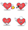 set of heart character with shopping karaoke devil vector image vector image