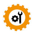 silhouette in shape of gear with wrench and pinion vector image