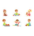 toddlers play with different toys vector image vector image