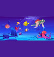 Underwater landscape with sea life animals