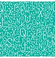 White on green alphabet letters seamless pattern vector image