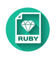 white ruby file document icon download ruby vector image vector image