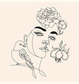 woman face with flowers line drawing vector image vector image