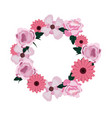 wreath flowers floral decoration isolated design vector image vector image