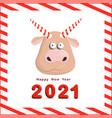 year bull postcard square funny christmas vector image vector image