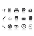 black simple office icons set vector image