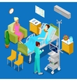 Isometric Hospital Room with Patient and Nurse vector image
