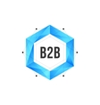 Blue polygonal hexagon icon with mesh and dots vector image