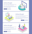 achieve goal posters info set vector image vector image