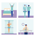banners man doing daily activity vector image