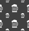 Beer glass icon sign Seamless pattern on a gray vector image