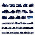 blue residential house silhouette isolated on vector image