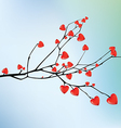 Branch with red hearts vector image vector image