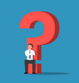 businessman sitting on base question mark vector image vector image