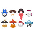 carnival funny pirate masks for party costume vector image