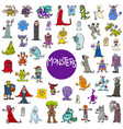cartoon monster characters big set vector image vector image