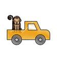 cartoon pick up vehicle safari monkey animal vector image