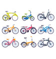 collection bicycles ecological sport transport vector image