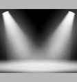 dark background with spotlights light studio vector image vector image