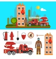 Firefighting department objects isolated on white vector image vector image
