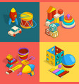 four thematic groups of preschool children toys vector image vector image