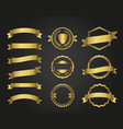 golden frame and ribbon set vector image vector image