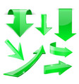 green 3d arrows shiny icons vector image vector image