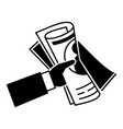hand newspaper icon simple style vector image