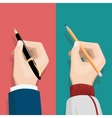 Hand with pencil and pen vector image vector image