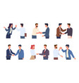 handshaking people greeting male and female vector image