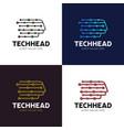 head tech logo pixel logo concept robotic vector image