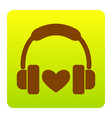 headphones with heart brown icon at green vector image vector image