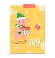 joy postcard piglet new year symbol with gift box vector image vector image